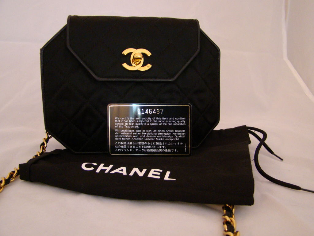 Chanel Hexagonal Black Satin Evening Bag image 8