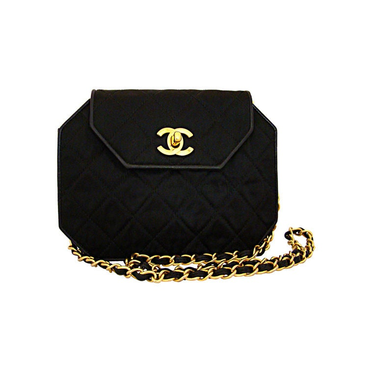 Chanel Hexagonal Black Satin Evening Bag