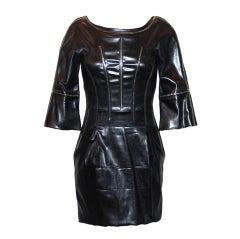 Dolce & Gabbana black leather dress w/ rhinestone detail  - 42
