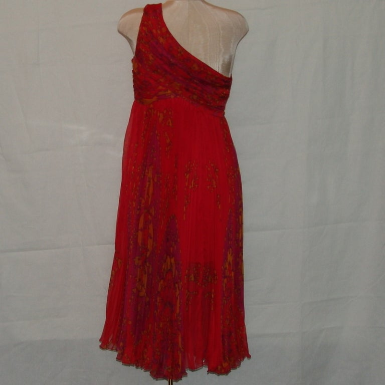 Christian Dior red floral chiffon dress image 3