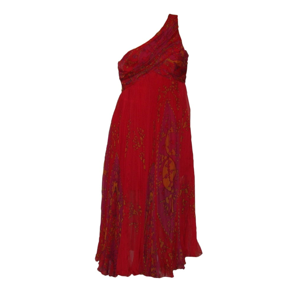 Christian Dior red floral chiffon dress