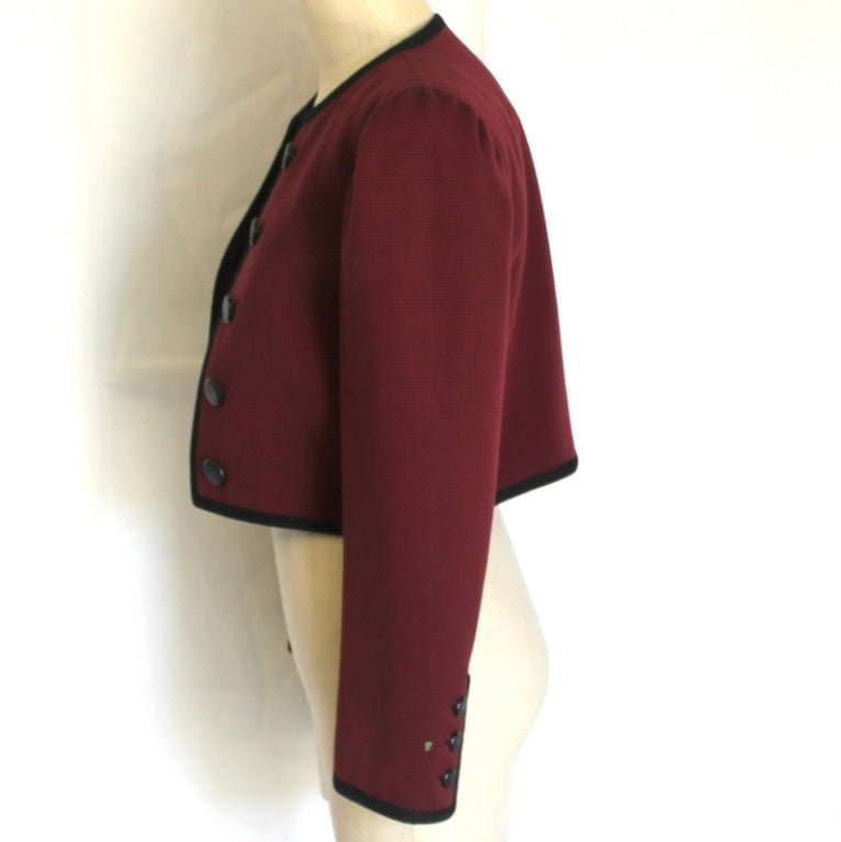 YSL wine with black trim jacket 2