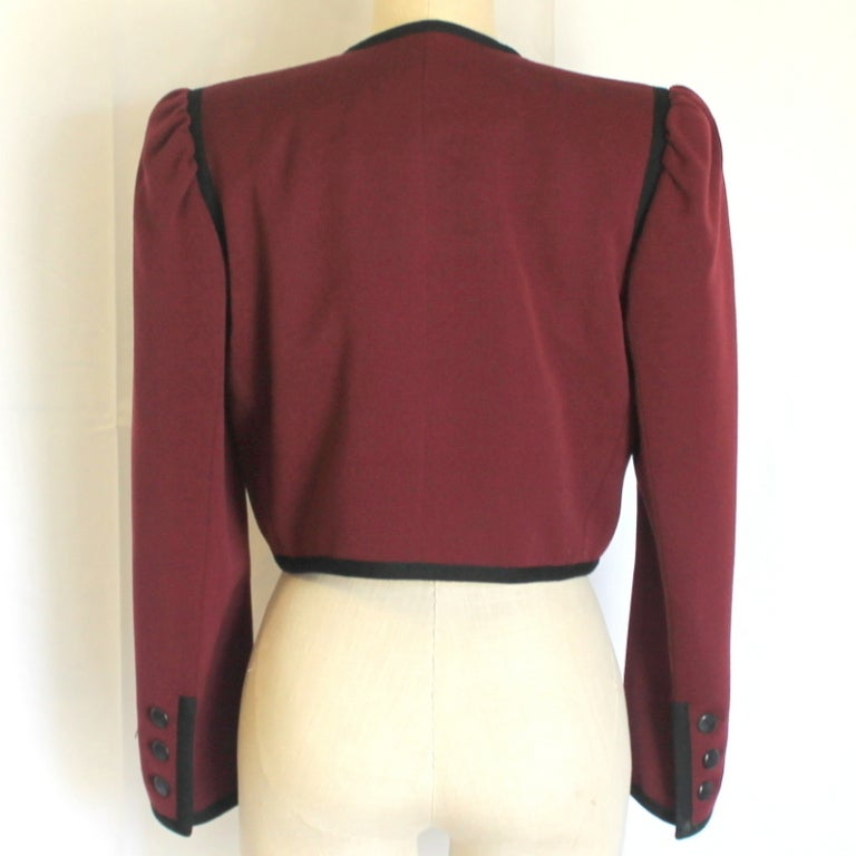 YSL wine with black trim jacket 3
