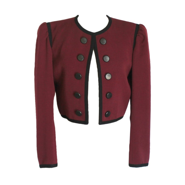 YSL wine with black trim jacket 1
