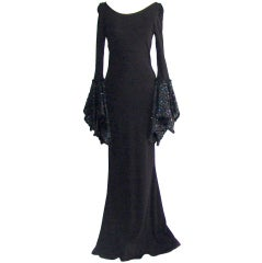 Vintage Black Gown with Sequin Sleeves