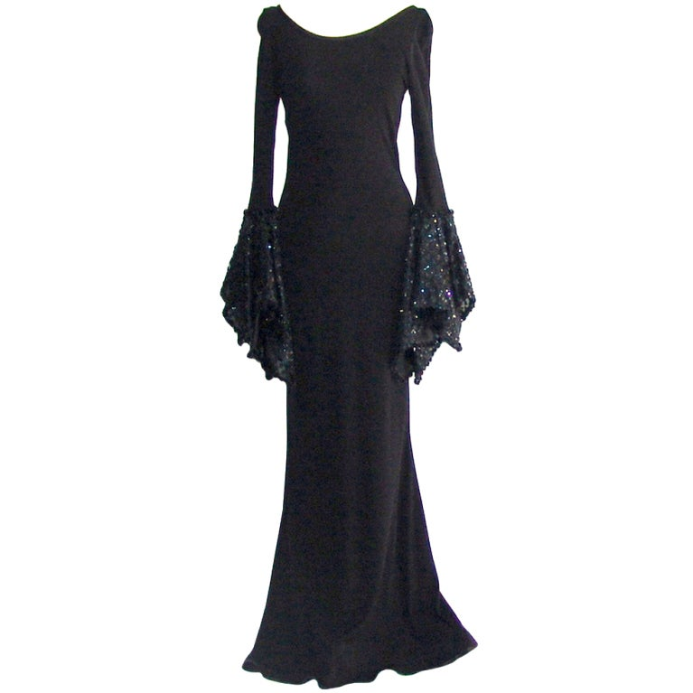 Vintage Black Gown With Sequin Sleeves For Sale At 1stdibs