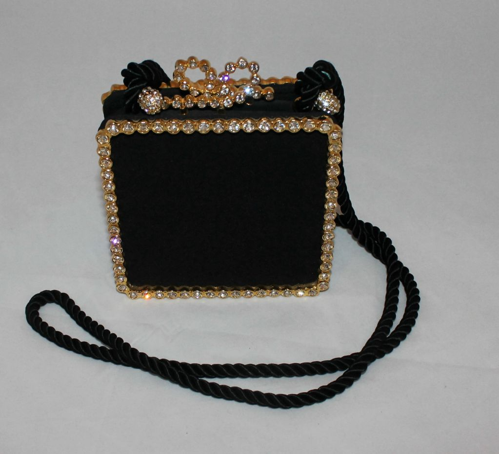 Vintage Kenneth Jay Lane Black Satina and Rhinestone Evening Bag. This bag is a jewel...it is in very good pre-owned condition.