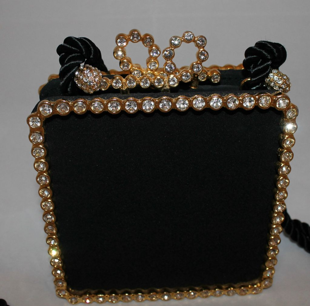 Women's Vintage Kenneth Jay Lane Black Satin and Rhinestone Evening bag For Sale