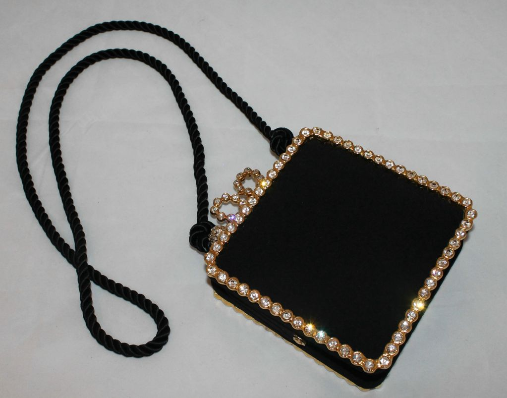 Vintage Kenneth Jay Lane Black Satin and Rhinestone Evening bag For Sale 3