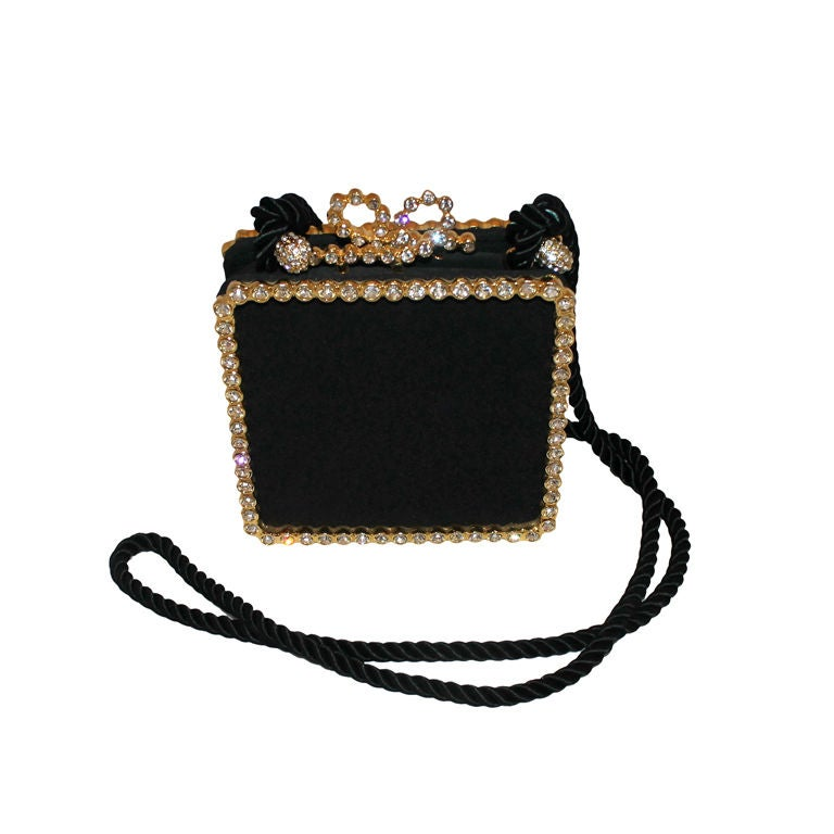 Vintage Kenneth Jay Lane Black Satin and Rhinestone Evening bag For Sale