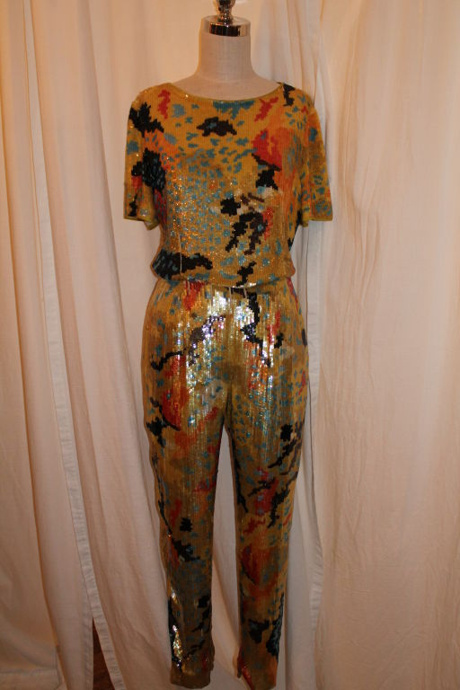 Vintage Valentino Boutique Multi Color Sequin Top and Pant. <br />