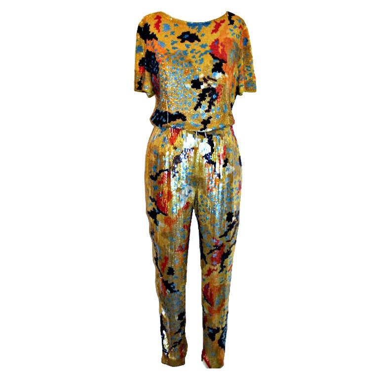Vintage Valentino Boutique Multi Color Sequin Top and Pant