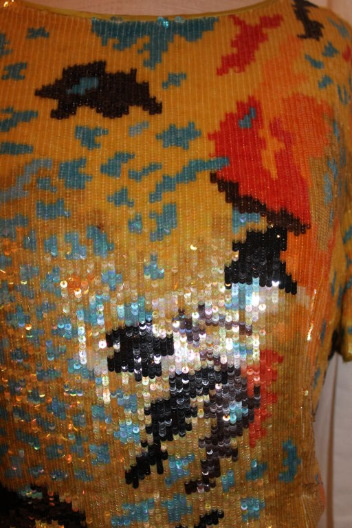 Women's Vintage Valentino Boutique Multi Color Sequin Top and Pant