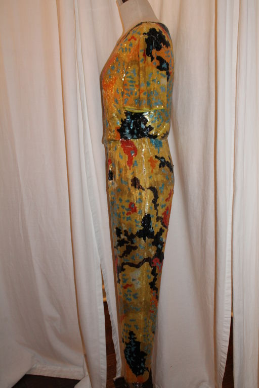 Vintage Valentino Boutique Multi Color Sequin Top and Pant 1