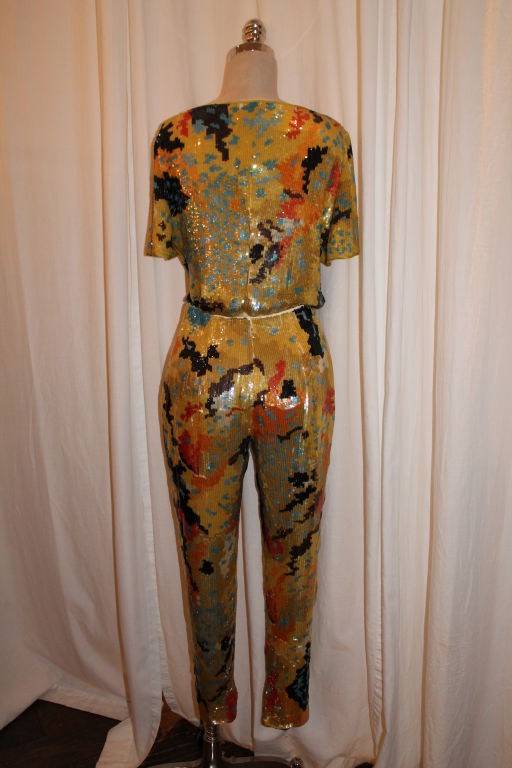 Vintage Valentino Boutique Multi Color Sequin Top and Pant 2