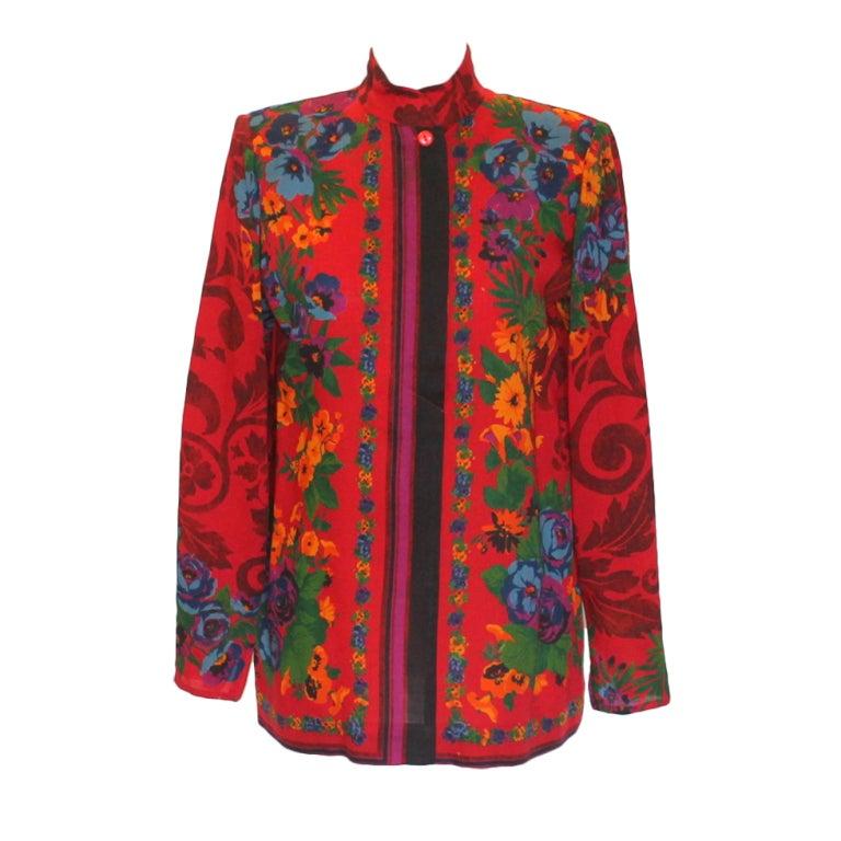 Ungaro Floral Print Jacket-Circa 70's