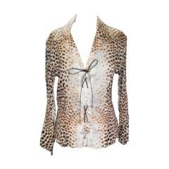 Cavalli Leopard Print Silk Top
