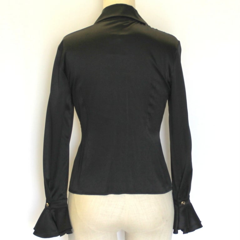 St. John Black Silk Blouse 3