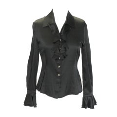 St. John Black Silk Blouse