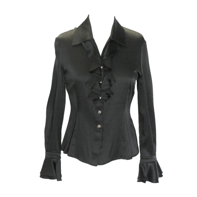 St. John Black Silk Blouse 1