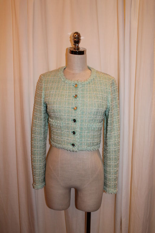Vintage Chanel Mint Green Tweed Crop Jacket. Circa 95. This item is in excellent pre-owned condition.<br />