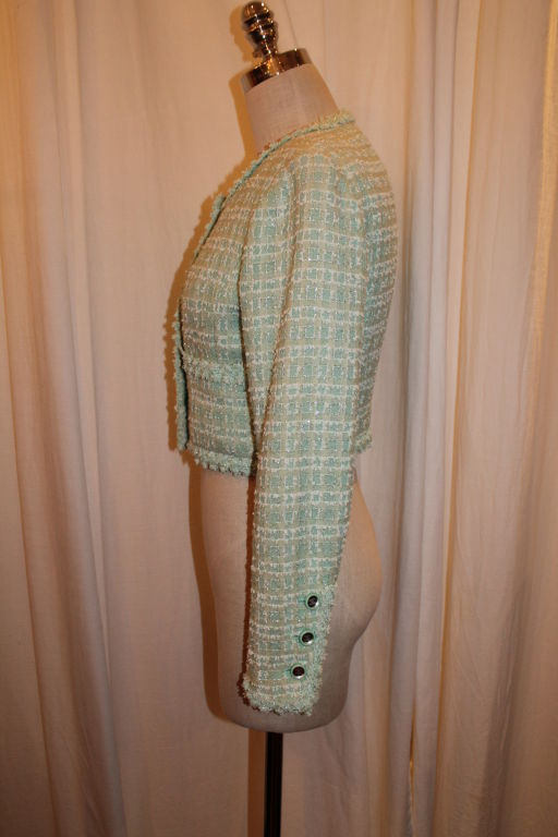 Chanel Mint Green Tweed Crop Jacket-38 For Sale 2
