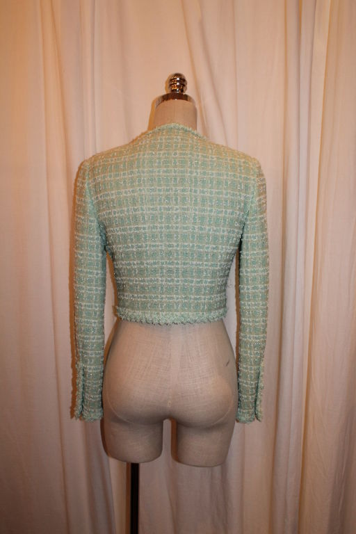 Chanel Mint Green Tweed Crop Jacket-38 For Sale 3