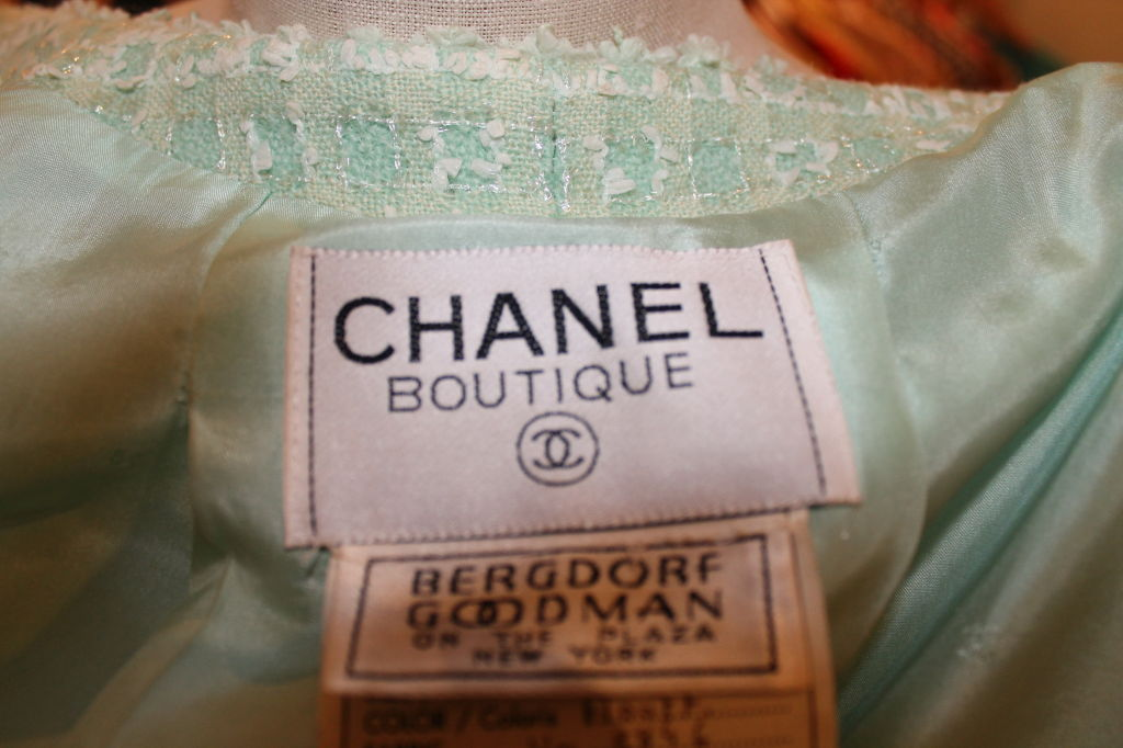 Chanel Mint Green Tweed Crop Jacket-38 For Sale 4