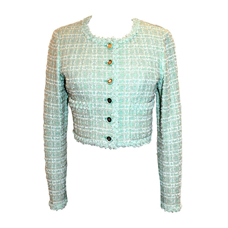 Chanel Mint Green Tweed Crop Jacket-38 For Sale