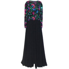 Yvette Black Chiffon Gown with Multi Colored Sequins