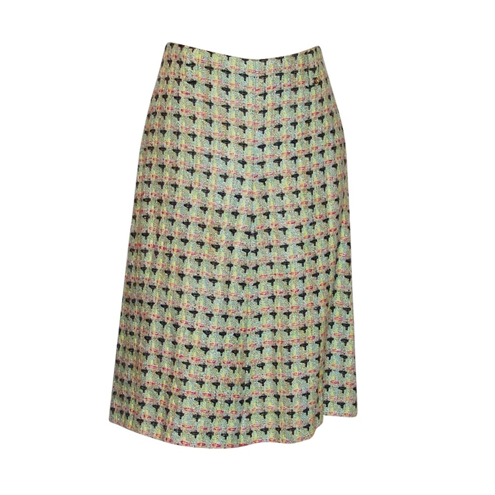 Chanel Multi Pastel Patterned Lightweight Tweed Skirt - 40-02P