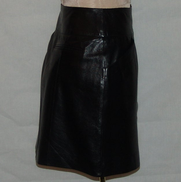 Chanel Black Leather Mini Skirt 2