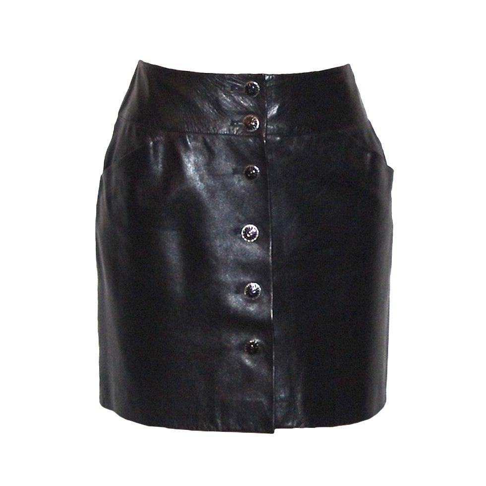 Chanel Black Leather Mini Skirt At 1Stdibs-9090