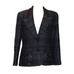 Chanel Black and Grey Printed Jacket with Sequins - 42