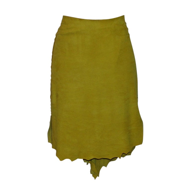 Cavalli Mustard Colored Suede Skirt