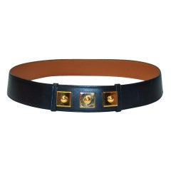 Hermes Black Leather Belt w/ GHW - 85