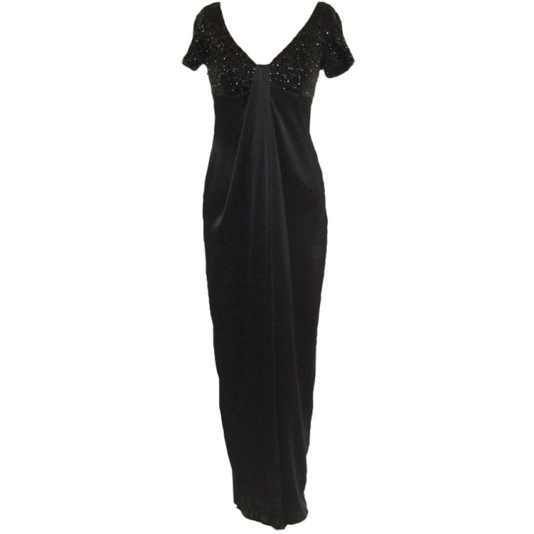 Carmen Marc Valvo Black Satin and Sequin Gown For Sale at 1stdibs