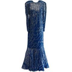Victor Costa Royal Blue Chiffon Gown