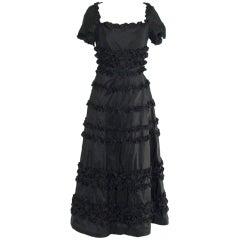 Vintage Black Taffeta Gown