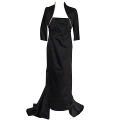 Black Silk Gown with Train and Jacket