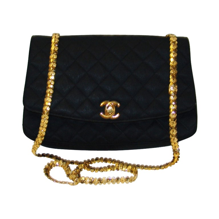 Chanel Black Satin Handbag