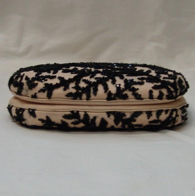 Judith Leiber Pale Peach with Black Beaded Design Handbag 3