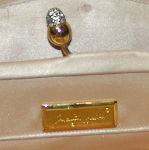 Judith Leiber Pale Peach with Black Beaded Design Handbag 4