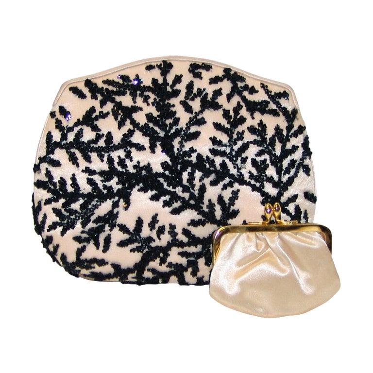 Judith Leiber Pale Peach with Black Beaded Design Handbag 1
