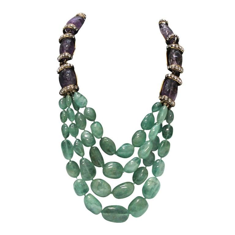 Iradj Moini  Amethyst and Semi Precious Lime Crystal Necklace 1