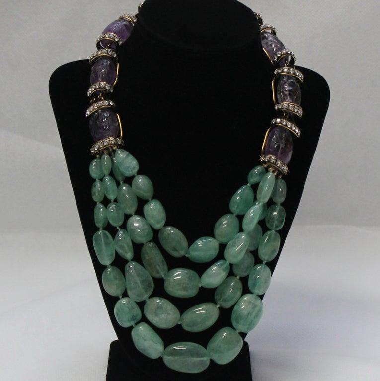 Iradj Moini  Amethyst and Semi Precious Lime Crystal Necklace 2