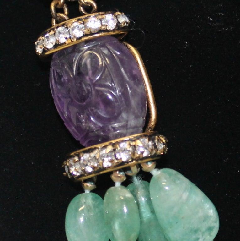 Iradj Moini  Amethyst and Semi Precious Lime Crystal Necklace 3