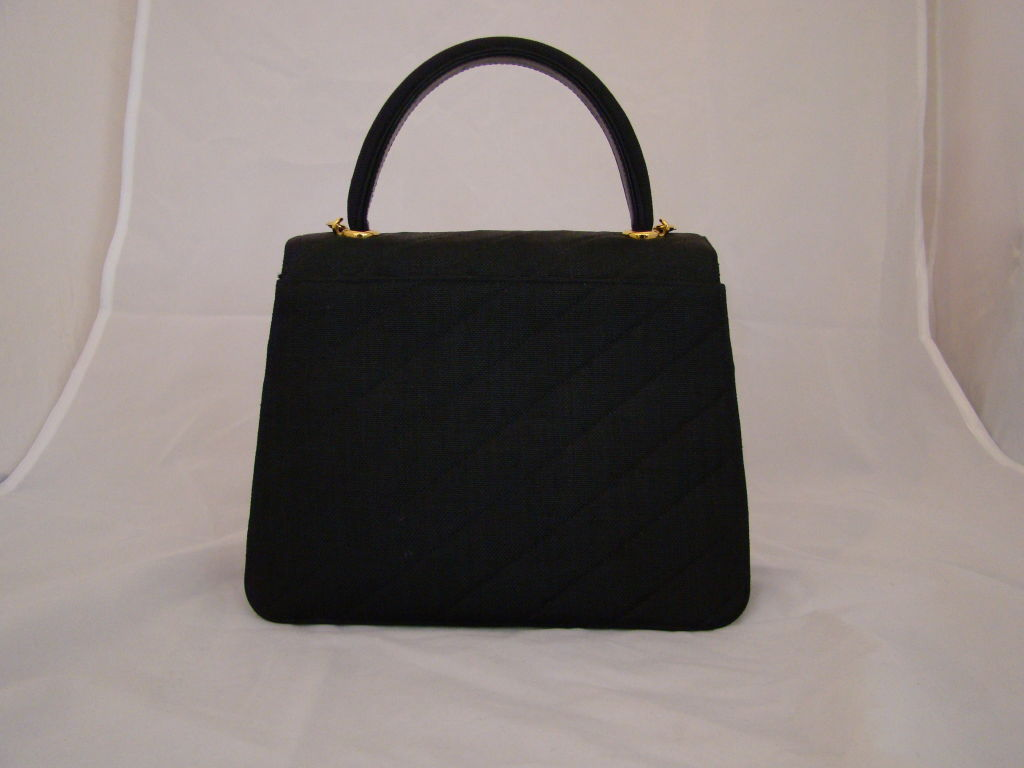 Women's Chanel Black Linen Kelly Bag