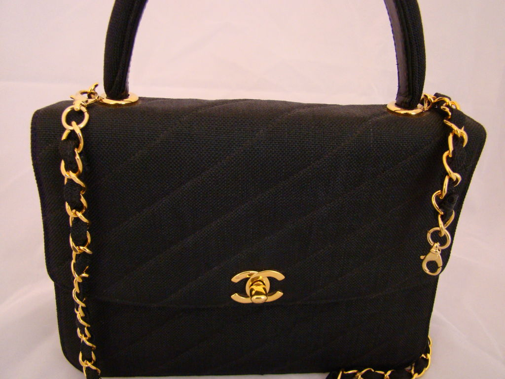 Chanel Black Linen Kelly Bag 4