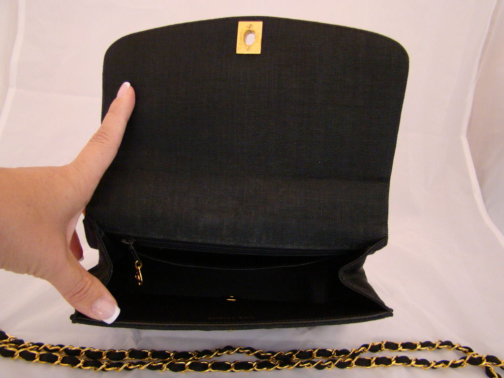 Chanel Black Linen Kelly Bag 5